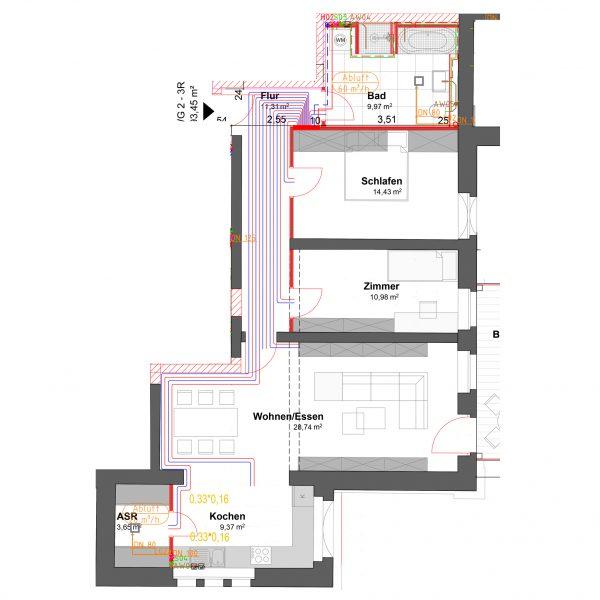 3-Raum Wohnung im Grünen